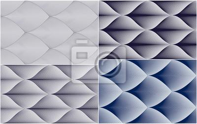 Abstrakte Linien geometrische nahtlose Muster eingestellt, endlose Gewebehintergrundsammlung der Vektorwiederholung. Floral Blätter oder Fisch Squama Formen trendige Motiv. Einfarbig, schwarz und weiß