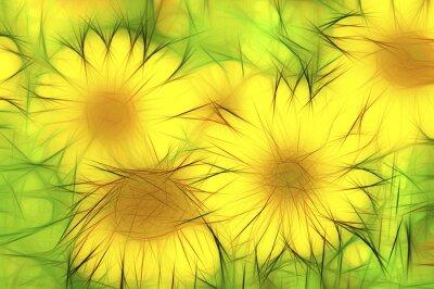 Bild abstrakte moderne Illustration gelbe Sonnenblumen