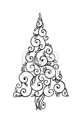 Abstrakte Weihnachtsbaum Illustration Hand Gezeichneten Wirbelt
