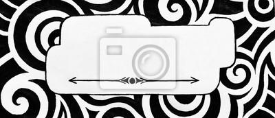 Bild abstrakten leeren Zeichen oder Tag mit moderner Kunst doodle Design in Schwarz in auf weißem Hintergrund, abstrakte Form für Typografie und Texttitel, wirbel Hand gezeichnet Locken und in Formen in zu