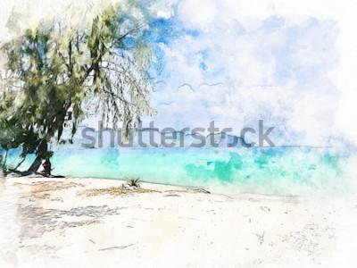Bild Abstrakter bunter schöner Gebirgszug und Meerwasser in Krabi, Thailand auf Aquarellillustrations-Malereihintergrund.