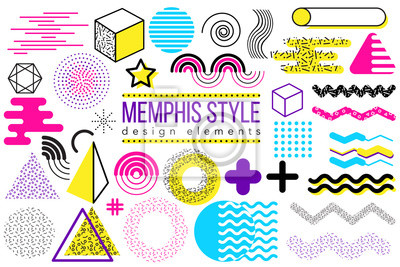 Abstrakter Vektorgestaltungselementsatz. Geometrische Formen- und Formsammlung Memphis-Art, zum des Plakats, der Broschüre, des Plans, der Schablone oder der Darstellung zu schaffen. Einfach zu kombin