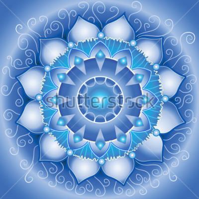 Bild abstraktes blaues Muster, Mandala von vishuddha Chakra Vektor
