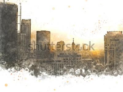 Bild Abstraktes Gebäude in der Stadt auf Aquarellmalereihintergrund. Stadt auf Digital-Illustrationspinsel zur Kunst.