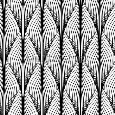 Bild Abstraktes geometrisches Muster mit gewellten Linien. Nahtloser Hintergrund Monochrome Verzierung. Gerasterte Version