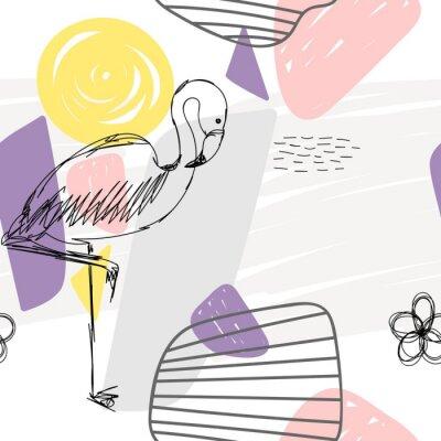 Bild Abstraktes geometrisches nahtloses mit Blumenmuster mit Flamingo.