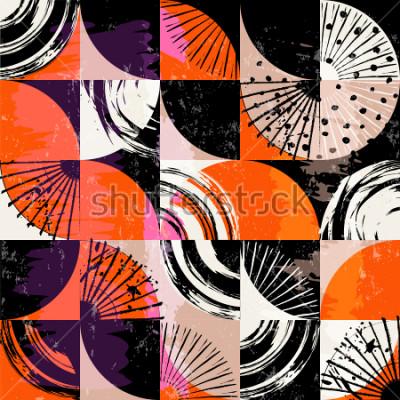 Bild Abstraktes Hintergrundmuster, mit Kreisen, Punkten, Quadraten, Anschlägen und spritzt