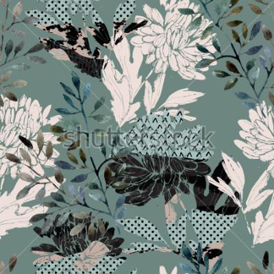 Bild Abstraktes nahtloses mit Blumenmuster. Aquarellblumen, Blätter gefüllt mit minimalen Gekritzelbeschaffenheiten. Natürlicher Hintergrund. Handgemalte Herbstillustration für Gewebe, Gewebe, Design einwi