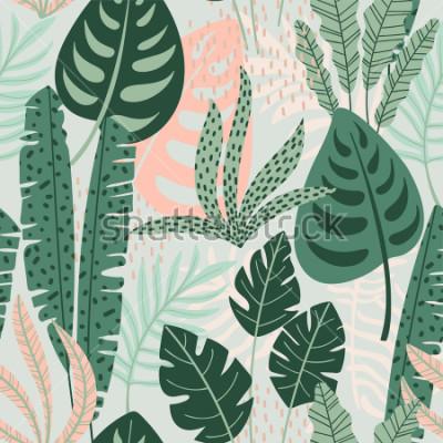 Bild Abstraktes nahtloses Muster mit tropischen Blättern. Hand zeichnen Textur. Vektor Vorlage