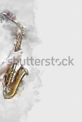 Bild Abstraktes Saxophon im Vordergrund. Abschluss oben, Aquarellfarbenjazz, der das Saxophon spielt.
