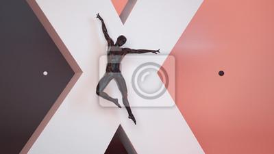Abstraktes schwarzes menschliches Tanzkunstpantomanneplastik über großem weißem X-Buchstaben und schwarzem korallenrotem Pastellhintergrund. Action-Sprung und Tanz-Ballett-Pose. Abbildung der Wiederga