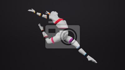 Abstraktes weißes menschliches Körperplastikmannequin mit bunten geschnittenen Körperteilen über schwarzem Hintergrund. Action-Tanz-Ballett-Pose. Abbildung der Wiedergabe 3D