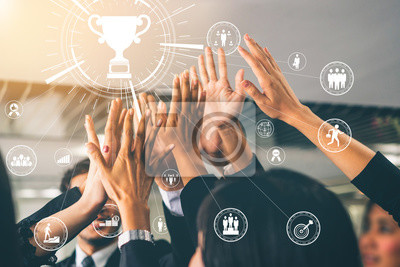 Bild Achievement and Business Goal Success Concept - Creative business people with icon graphic interface showing employee reward giving for business success achievement.