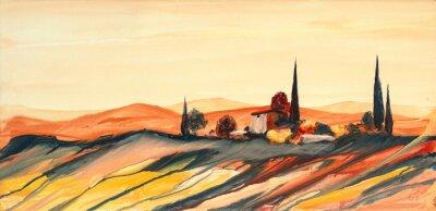 Bild Acrylfarben Gemälde einer stark farbigen bunten Toskana Landschaft mit Haus, Bäumen und Zypressen mit fließender Farbe, Farbspritzern und Tropfen mit Textfreiraum