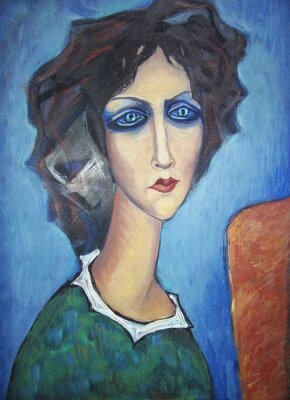Bild Acrylic colorful painting. Canvas. Portrait of long-necked blue-eyed woman in a green dress with a white collar  at the easel on a blue background. Interior decor.