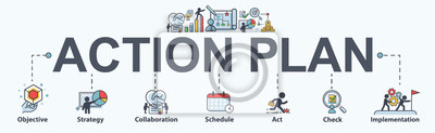 Bild Action plan banner web icon for business and marketing. objective, strategy, Collaboration, Schedule, Plan and implementation. Minimal vector infographic.