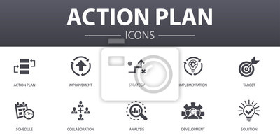 Bild action plan simple concept icons set. Contains such icons as improvement, strategy, implementation, analysis and more, can be used for web, logo, UI/UX