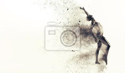 Action-Tanz-Pose. 3D-Rendering-Abbildung