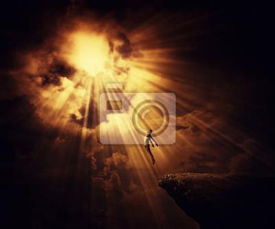 Bild Active boy astral travel, mystical rapture state psychokinesis condition. Magic soul energy show human illusion.