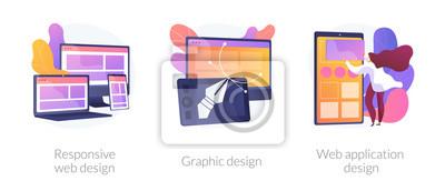 Bild Adaptive programming icons set. Multi device development, software engineering. Responsive web design, graphic design, web application design metaphors. Vector isolated concept metaphor illustrations