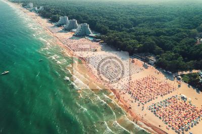 Aerial drone view of Albena sandy beach resort, Bulgaria