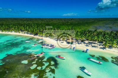 Aerial view of tropical beach island in Dominican Republic