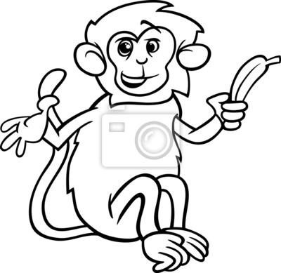 Affe mit banane malvorlagen leinwandbilder • bilder Primaten, Färben ...