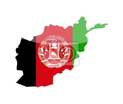 Afghanistan Flagge Land Kontur Vektor Icon Leinwandbilder Bilder