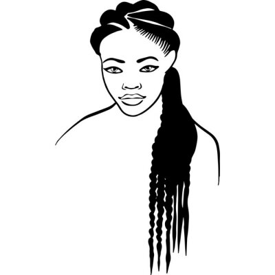 Bild African American Woman Face with Hair - Natural Long Braids