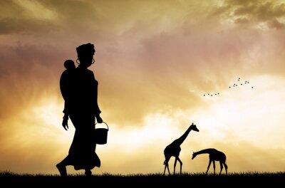 Bild Afrikanische Frau und Sohn am Sonnenuntergang