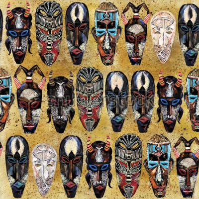 Bild afrikanische Maske nahtlose Muster. Hand gezeichneter ethnischer Stammes- Totemhintergrund
