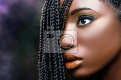 Bild Afrikanische Schönheit weibliches Gesicht mit Zöpfen.