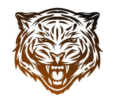 Bild Aggressive Tiger Gesicht. Line Art-Stil.