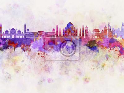 Bild Agra Skyline in Aquarell Hintergrund