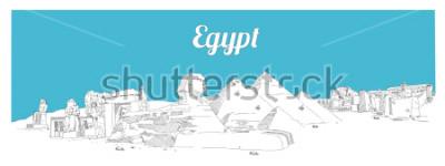 Bild ÄGYPTEN-Hand, die panoramische Skizzenillustration zeichnet
