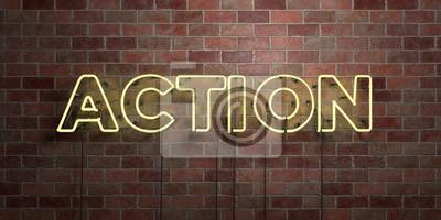Bild AKTION - fluoreszierende Neonröhre Zeichen auf Mauerwerk - Vorderansicht - 3D gerendert lizenzfreie Stock Bilder. Kann für Online-Bannerwerbung und Direktwerbung verwendet werden ..