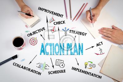 Bild Aktionsplan-Konzept. Das Treffen am weißen Bürotisch