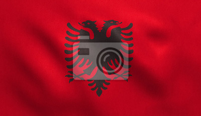 Frohe Weihnachten Albanisch.Bild Albanien Flagge