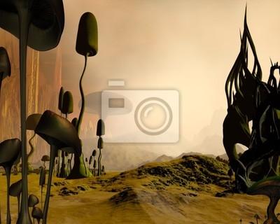 Alien nebligen Wüstenlandschaft