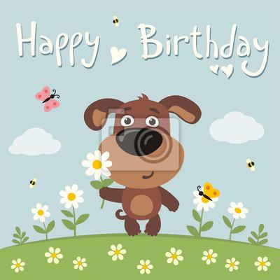 Alles Gute Zum Geburtstag Cute Welpen Hund Mit Blume Kamille
