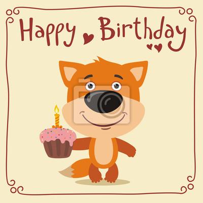 Alles Gute Zum Geburtstag Lustige Fuchs Mit Geburtstagstorte