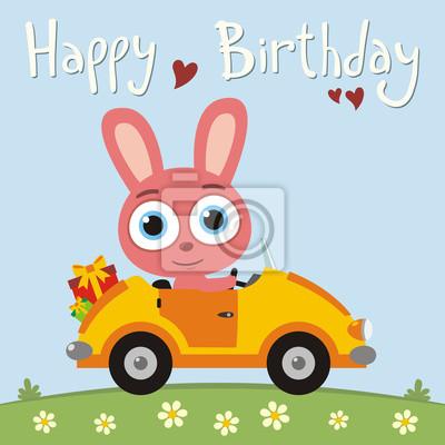 Alles Gute Zum Geburtstag Lustige Hase Kaninchen Gehen Im Auto