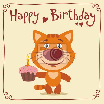 Alles Gute Zum Geburtstag Lustige Katzchenkatze Mit