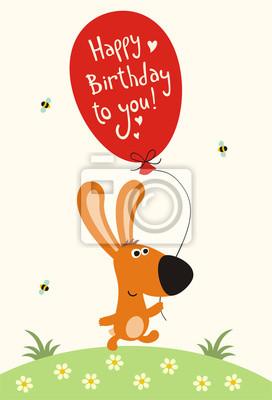 Alles Gute Zum Geburtstag Lustige Kleine Hase Mit Ballon