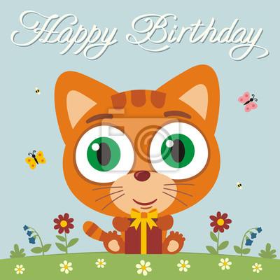 Alles Gute Zum Geburtstag Lustige Kleine Katzchenkatze Mit Geschenk