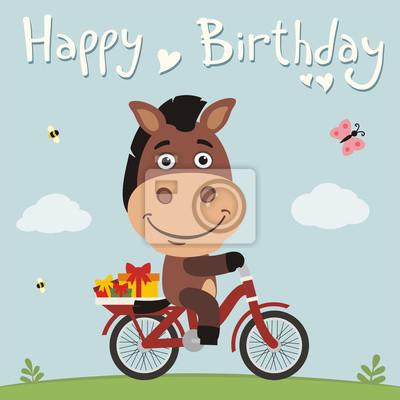Alles Gute Zum Geburtstag Lustige Pferd Auf Dem Fahrrad Mit