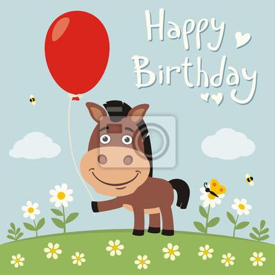 Alles Gute Zum Geburtstag Lustige Pferd Mit Roten Ballon Auf