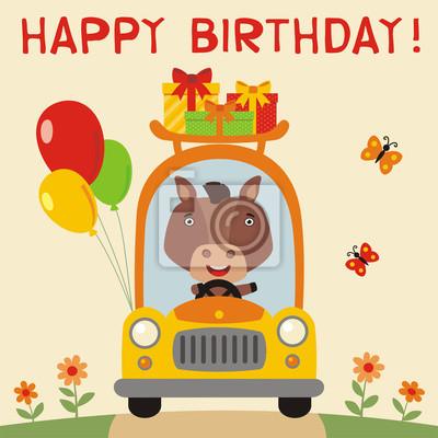 Alles Gute Zum Geburtstag Lustige Pferd Reitet Im Auto Mit