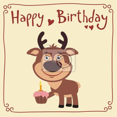 Alles Gute Zum Geburtstag Lustige Rehe Mit Geburtstagstorte