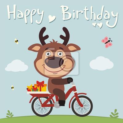 Alles Gute Zum Geburtstag Lustige Rotwild Auf Fahrrad Mit